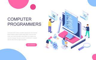 Modern plat ontwerp isometrisch concept van computerprogrammeurs