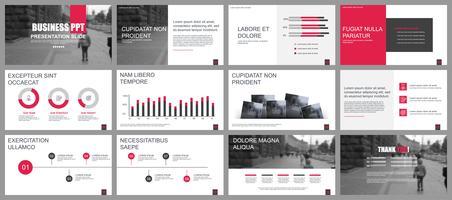 Bedrijfspresentatie schuift sjablonen van infographic elementen. vector