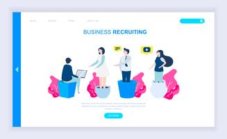 Modern plat ontwerpconcept van Business Recruiting vector