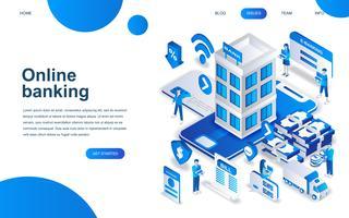 Modern isometrisch ontwerpconcept van online bankieren vector