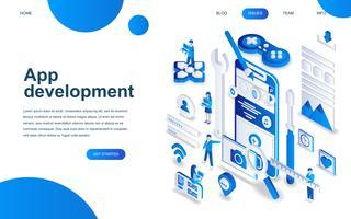Modern isometrisch ontwerpconcept van app-ontwikkeling
