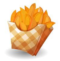 Wedge aardappelen in doos vector