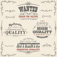 Hand getrokken vintage kwaliteit Banners en labels vector
