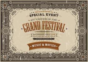 Vintage Retro Festival Poster Achtergrond vector