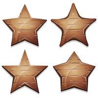 Wood Stars-pictogrammen voor Ui-spel vector