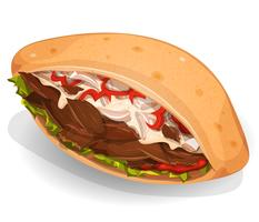 Kebab Sandwich-pictogram vector