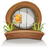 Cartoon houten en stenen afgeronde deur voor UI-spel vector