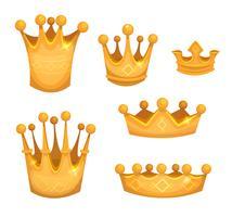 Koninklijke gouden kronen voor koningen of gamewi vector