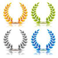 Awards en laurierblaadjes Kransenset vector