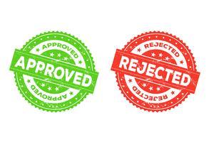 Goedgekeurde en geweigerde stempel vector