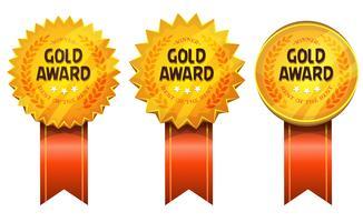 Gouden onderscheidingen medailles en linten vector