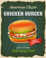 Retro fastfood kip hamburger poster