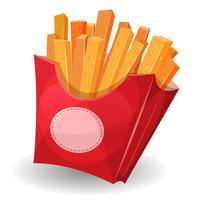 Frietjes binnen rood pakket vector