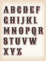 Vintage circus en westerse ABC lettertype vector