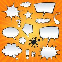 Komische tekstballonnen en spatten Set vector