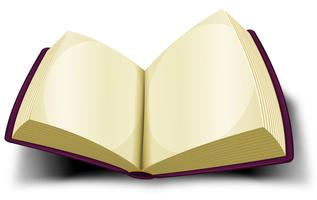 Groot boekpictogram geopend met blanco pagina's