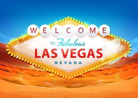 Welkom bij Las Vegas bord op woestijn achtergrond