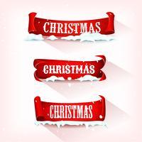 Christmas Perkament Scroll met sneeuw vector