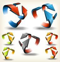 Dubbelzijdige abstracte circulaire pijlen vector