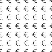 euro teken pictogram borstel belettering naadloze patroon, grunge kalligrafische symbolen achtergrond, vector illustratie