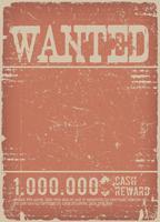 Gezocht Poster op rode Grunge achtergrond