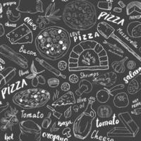 pizza naadloze patroon hand getrokken schets. pizza doodles voedsel achtergrond met bloem en andere voedselingrediënten, oven en keukengerei. vector illustratie
