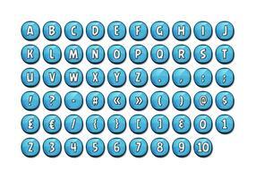 Alfabet lettertype ingesteld op glanzende knoppen voor Ui-spel