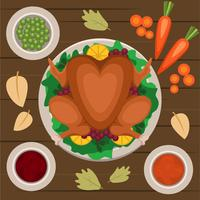 thanksgiving tafel overhead vector