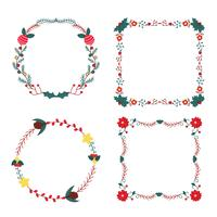 Leuke Floral Christmas Frames en Bordes vector