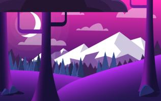 Vector paarse landschap illustratie