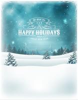 Kerst vakantie landschap achtergrond vector