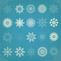 vintage kerst sneeuwvlokken instellen vector