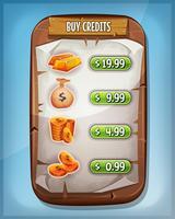 Credits-interface kopen voor Ui-spel