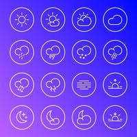 Weerpictogrammen, symbolen van de meteorologie de eenvoudige lijn, illustratie