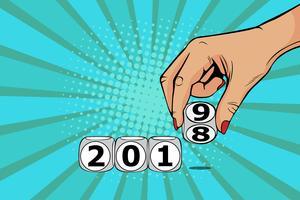 Vrouw hand schakelaar kubus van 2018 tot 2019. Vectorillustratie in pop-art retro komische stijl. vector