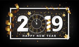 Nieuwjaar typografische creatieve achtergrond 2019 met klok vector