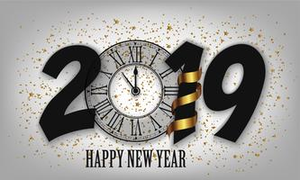Nieuwjaar typografische creatieve achtergrond 2019 met klok