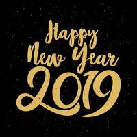 Gelukkig typografisch nieuwjaar 2019. Vector illustratie met belettering samenstelling en burst. Feestelijke vintage feestelijke label
