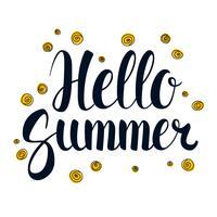 Hallo zomer, kalligrafie seizoen bannerontwerp, illustratie