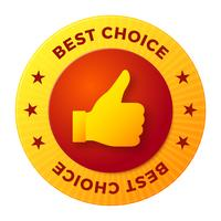 Beste keuze-etiket, ronde stempel voor producten van hoge kwaliteit