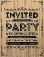 Vintage feest uitnodiging teken