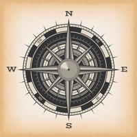 Windroos Kompas op Vintage Achtergrond