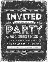 Vintage uitnodigingskaart op schoolbord vector
