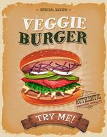 Grunge en vintage vegetarische hamburger Poster vector