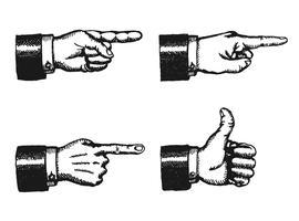 Wijzende vinger en duim omhoog teken