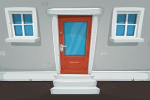 Cartoon huisdeur en Windows in de straat vector