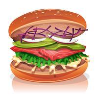 Vegetarische hamburger met zalm vis vector