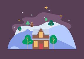 huis winterlandschap vector