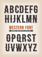 Vintage Western en Tattoo ABC lettertype vector