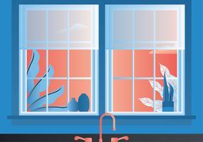 Keuken venster weergave vector ontwerp